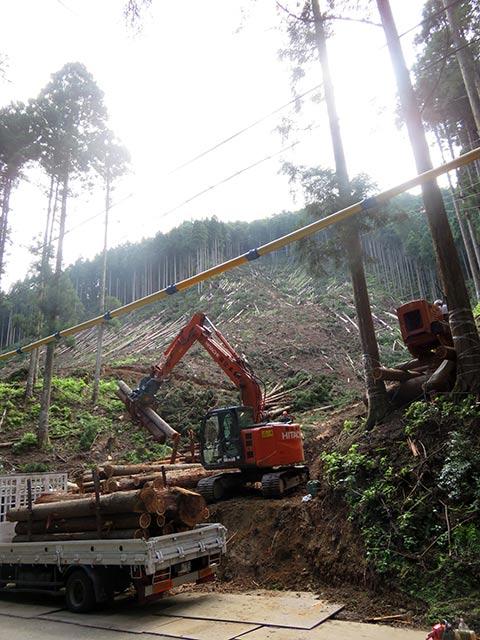 美山町の田歌の現場。木をトラックに積み込んでいます