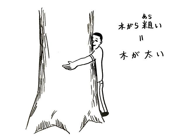 木がら粗いとは、木が太いという意味
