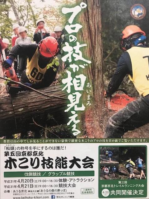 杣頭(そまがしら)の称号を手にするのは誰だ!第5回京都京北木こり技能大会のポスター