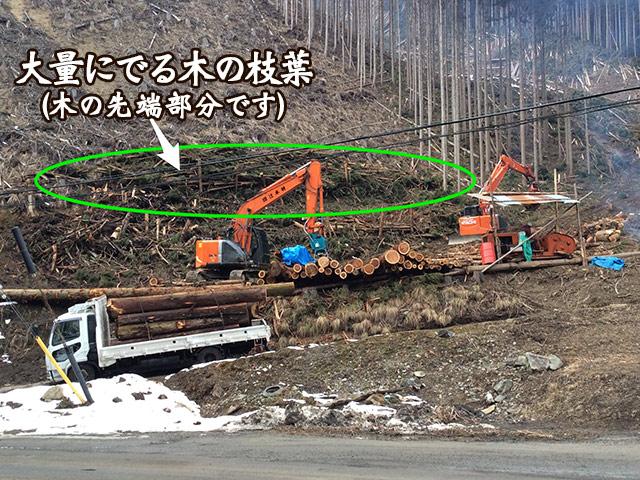 大量に集まって、山に放置してしまっている林地残材