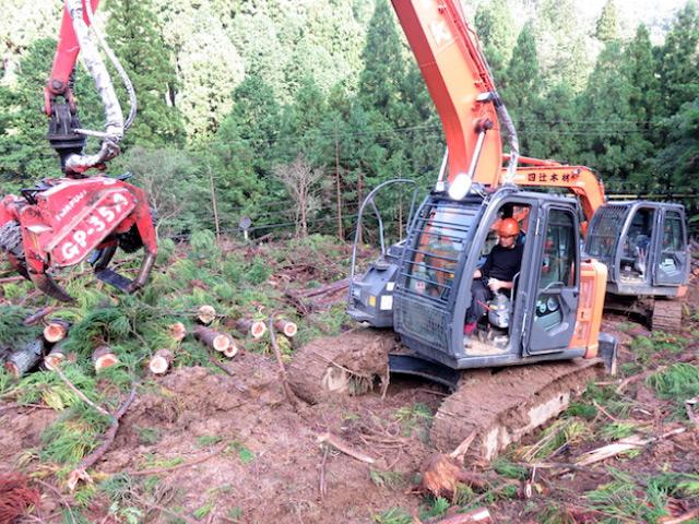 高性能林業機械・プロセッサー0.45サイズを、レンタルして導入。