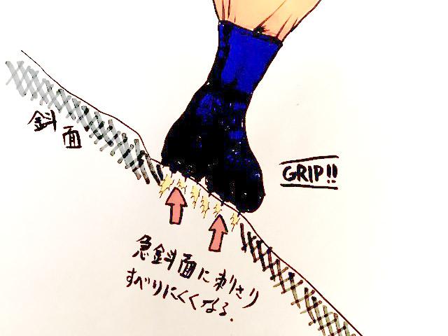 スパイク付きで、急斜面にもグリップして滑りにくい仕組みになっています。