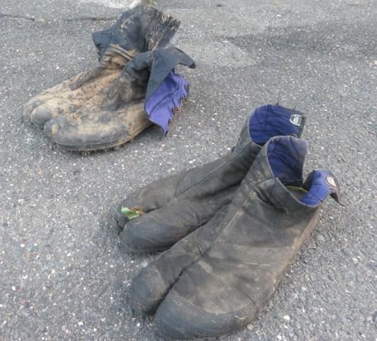木こりが山登る時は、地下足袋(ジカタビ)を履いてます。