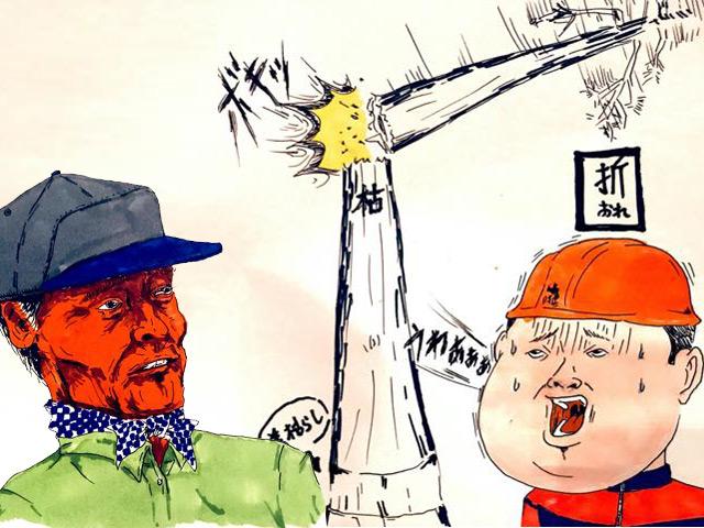 「うちにごっつい木が立ってるんやけど、皮をむいたら枯れて伐りやすいでっか?」にキコリが答えます。